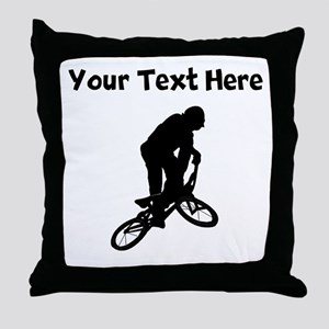 BMX Biker Silhouette Throw Pillow